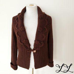 April Cornell Sweater Cardigan Brown Lace Wool